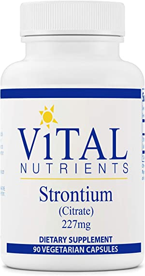 Vital Nutrients - Strontium (Citrate) - Supports Healthy Teeth and Bones - 90 Vegetarian Capsules per Bottle - 227 mg
