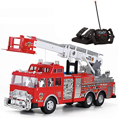 "20"" Jumbo R/C Rescue Fire Engine Truck Remote Control Toy with Foot Pedal Control, Extending Ladder, Flashing Lights & Sounds: Toys & Games"