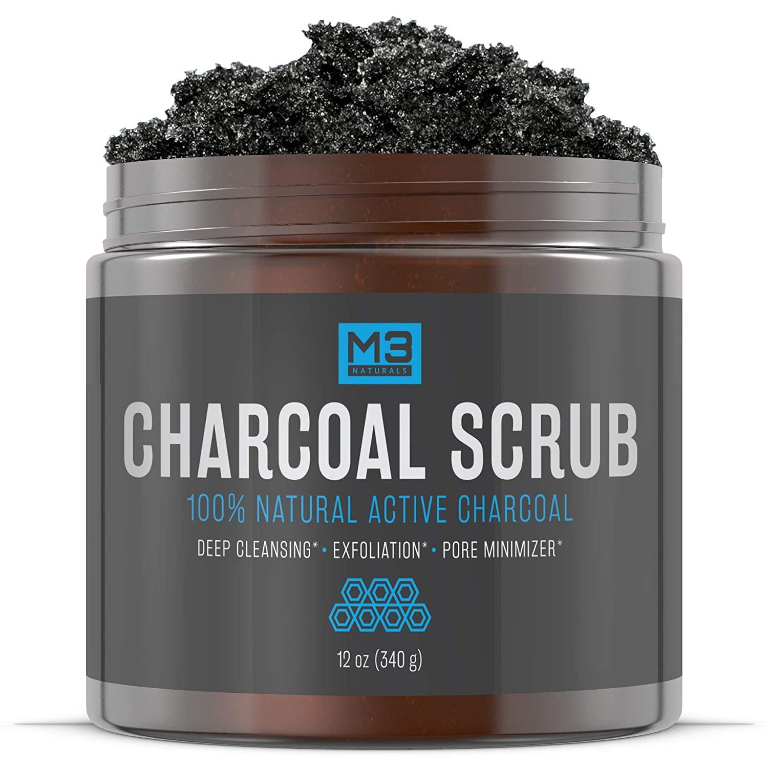 Premium Activated Charcoal Scrub 12 OZ - All Natural Pore Minimizer - Reduces Wrinkles, Blackheads & Acne Scars, Anti Cellulite Treatment - Body & Face Cleanser - Face Scrub & Body Scrub M3 Naturals
