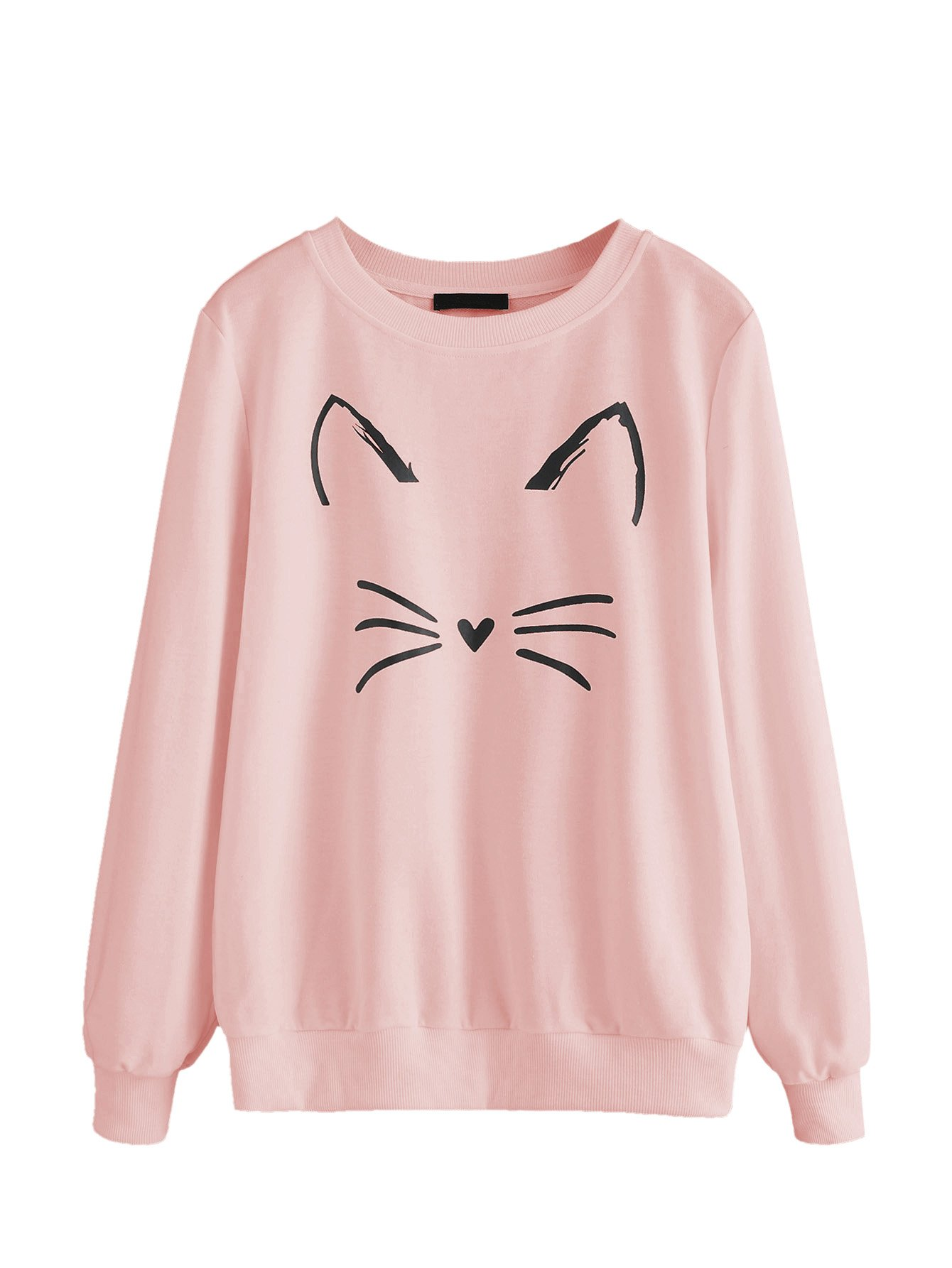 ROMWE Women's Cat Print Sweatshirt Long Sleeve Loose Pullover Shirt Pink S