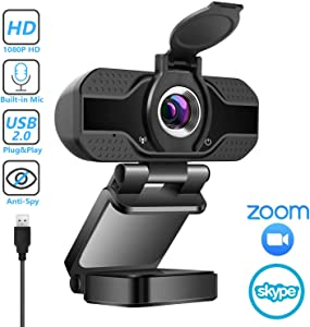 1080P Webcam with Microphone & Privacy Cover, Plug&Play USB Camera for PC/Mac Laptop/Desktop, Streaming Full HD Webcam with Auto Light Correction for Video Calling, Conference, Meeting, Online Classes