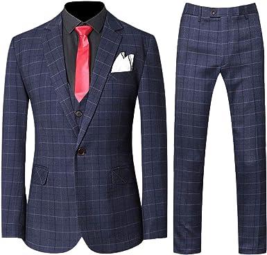 Amazon Com Conjunto De Traje De 3 Piezas A Cuadros Para Hombre De Ajuste Moderno Chaqueta De Esmoquin Tipo Blazer Pantalones Chaleco Clothing
