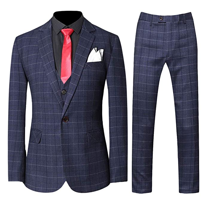 Mens 3-Piece Plaid Suit Set Modern Fit Jacket Tux Blazer Vest Pants