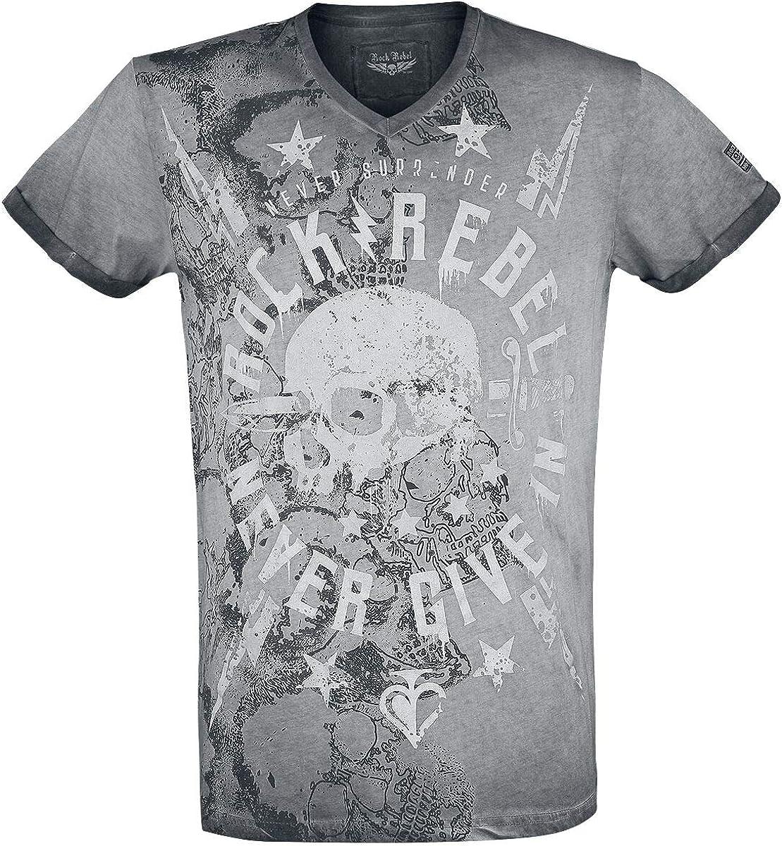 Rock Rebel by EMP Heavy Soul Hombre Camiseta Gris, Labelpatch Regular: Amazon.es: Ropa y accesorios