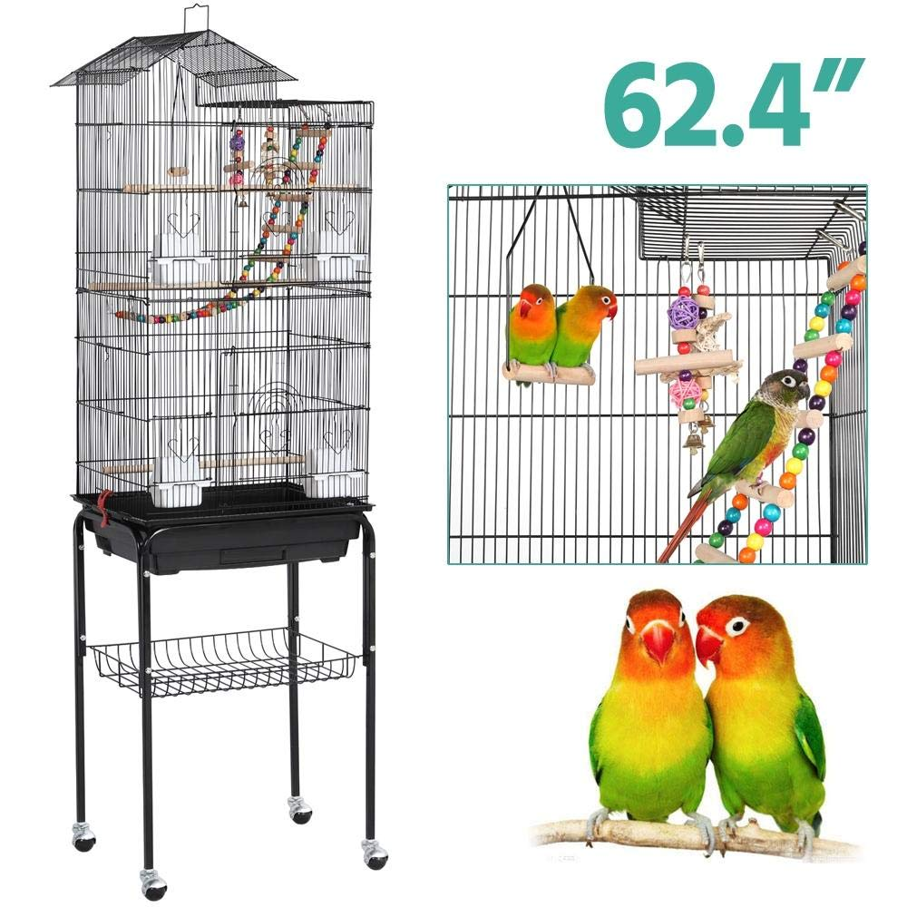 YAHEETECH Roof Top Large Flight Parakeet Parrot Bird Cage with Rolling Stand for Parakeets Cockatiels Lovebirds Finches…