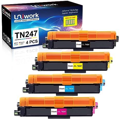 Con chip - Uniwork Cartuchos de tóner Reemplazo para Brother TN247 ...