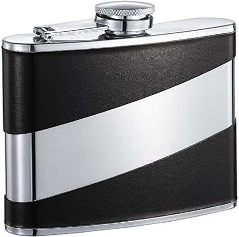 Visol Descent Deux Leatherette Stainless Steel Hip Flask 6 Ounce Black Alcohol And Spirits Flasks Flasks
