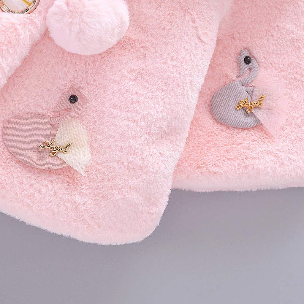 Webla Baby Girl Coat Faux Fur Jacket Cute Swan Patterns Pompom Warm Jackets Girls Princess Winter Coats Cape 3-24Mont