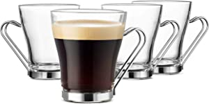 Bormioli Rocco OSLO Glass Coffee Mug - 7 ½ Ounce Espresso Cups (4 Pack) with Metal Handle Perfect Tea Glasses for hot and cold beverages, Thermal Shock Resistant, Tempered Glass, for Latte, Cappuccino