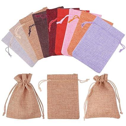 PandaHall Elite 100 Pcs Bolsas de Embalaje de Arpillera, Bolsas con Cordón, Rectángulo, 9 Colores Mixtos, 13.5x9.5cm