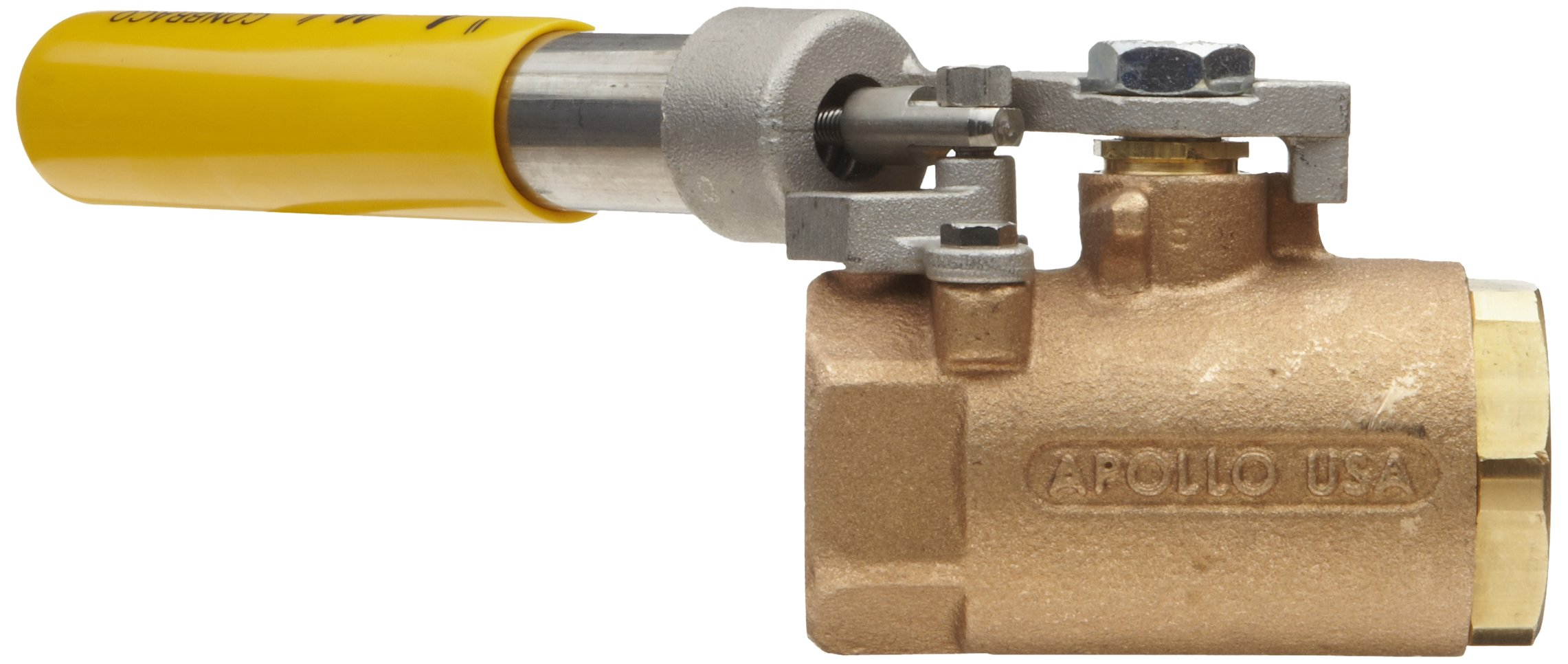 Apollo 71-500 Series Bronze Ball Valve, Two Piece, Inline, Spring-Close Lever, 3/4'' NPT Female by Apollo Valve (Image #2)