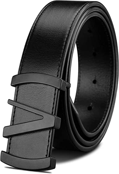 LUCIANO Elegant Italy Cowhide Genuine Leather Dress Belt Prong Buckle Belts for Men
