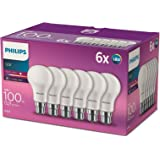 Philips Led B22 Bayonet Cap Light Bulbs, Frosted, 13 W (100 W) - Warm White, Pack of 6