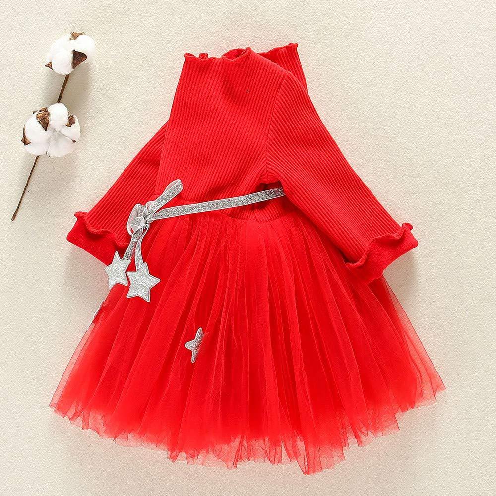 MITIY Toddler Kids Baby Girls Knit Star Long Sleeve Clothes Tutu Party Princess Dresses