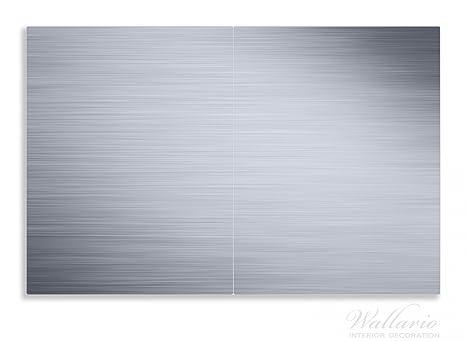 Wallario Herdabdeckplatte / Spritzschutz Aus Glas, 2 Teilig, 80x52cm, Für  Ceran  Und Induktionsherde, Motiv Aluminium Optik Metall Optik Streifen: ...