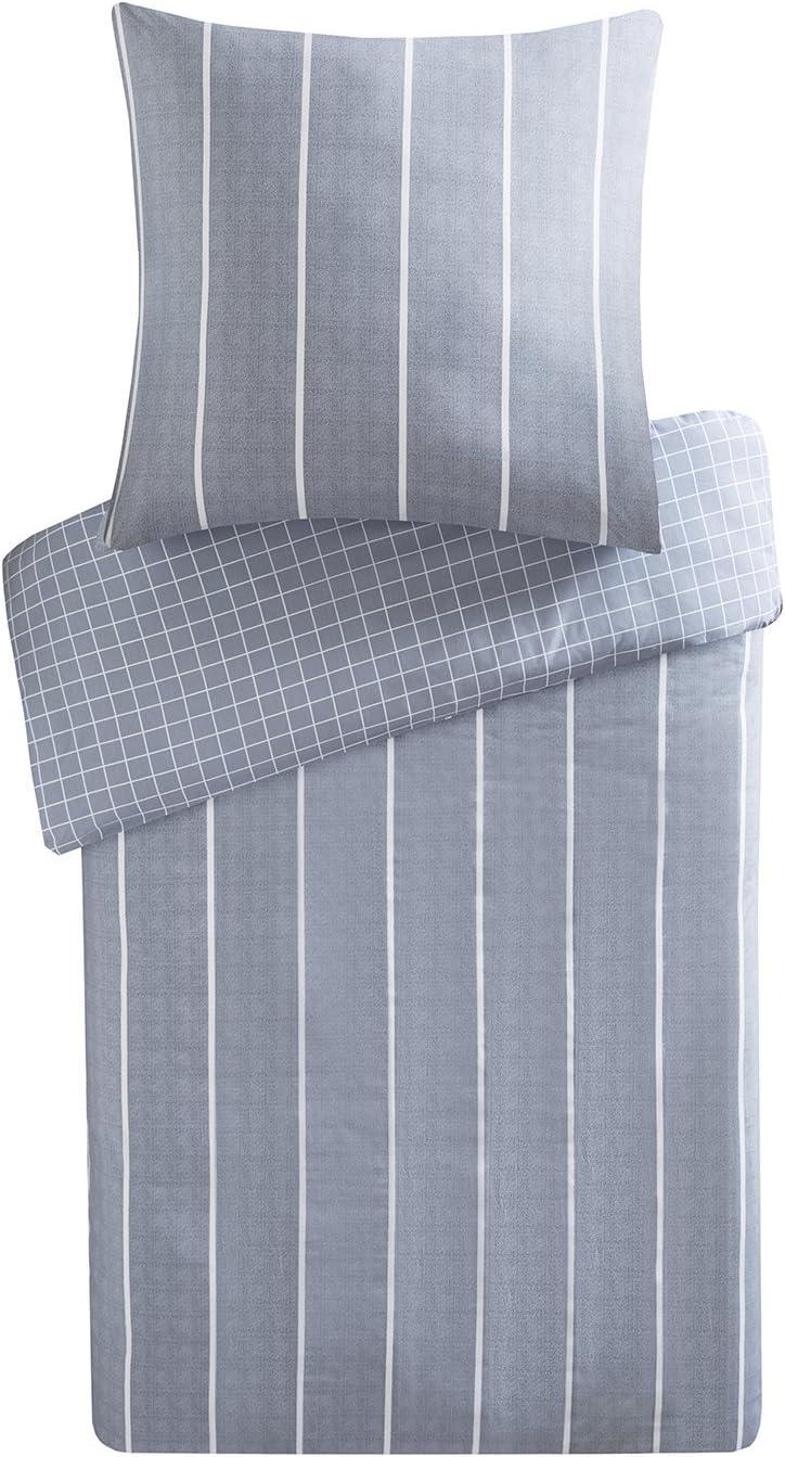 Gris, 200x200cm+50x75cm Parure de lit Avec Housse de Couette en Coton URBAN HABITAT Mordern Stripe Sets de Housses de Couettes