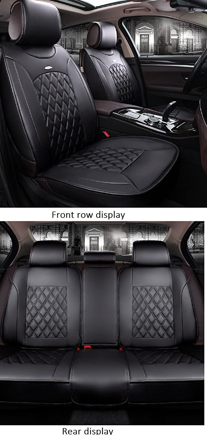 Saienon Luxury PU Leather Auto Car Seat Covers 5 Seats Full Set Universal Fit. Luxurious Black-Pink