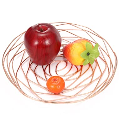 Caveen Metal Iron Wire Storage Basket Fruit Plate Modern Creative Fruit Bread Candy Snack Bowl Kitchen Household Decor rose gold