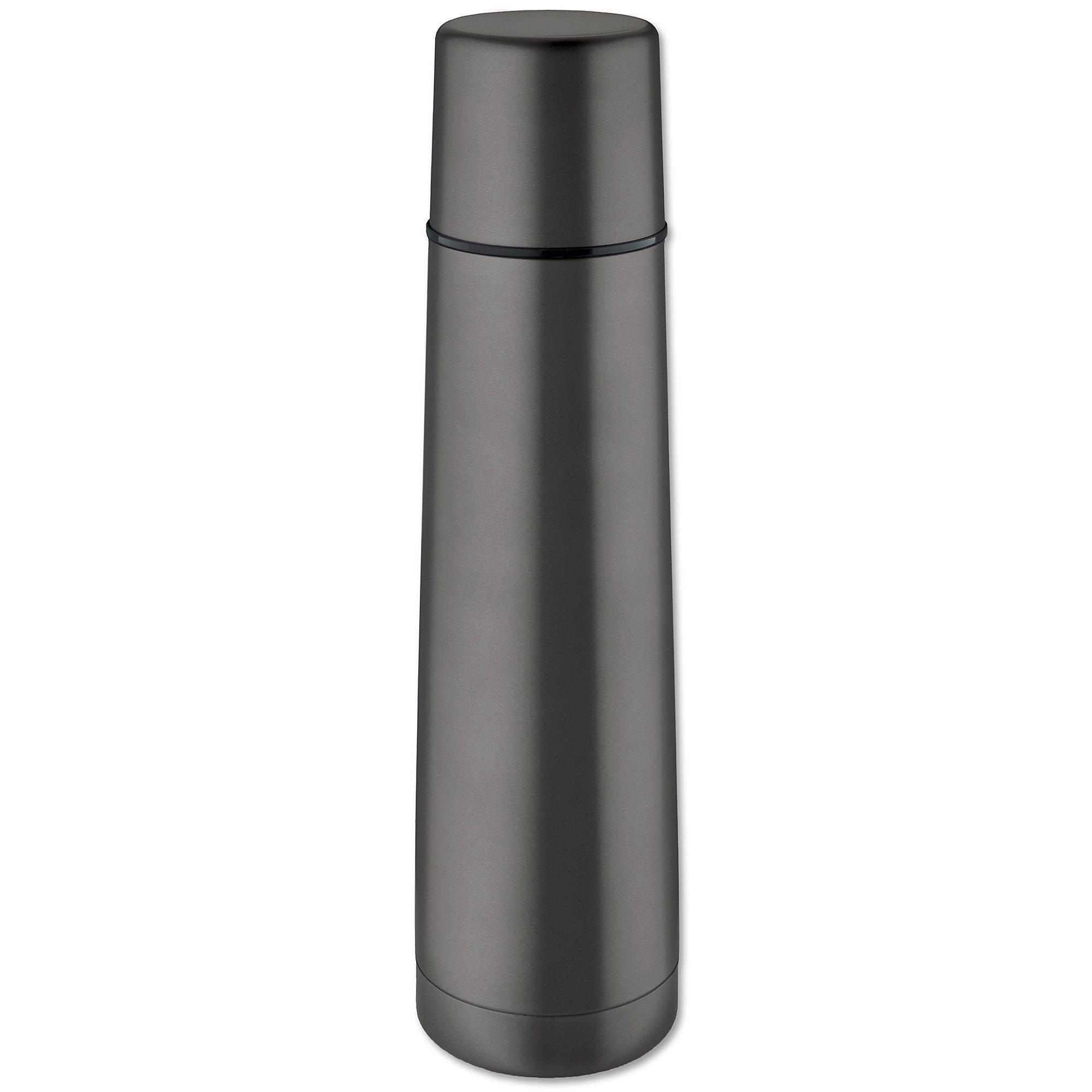 Isosteel VA-9554QAT 0.9 Litre 18/ 8 Stainless Steel Slimline Double-Walled Vacuum Flask, Titanium Gray