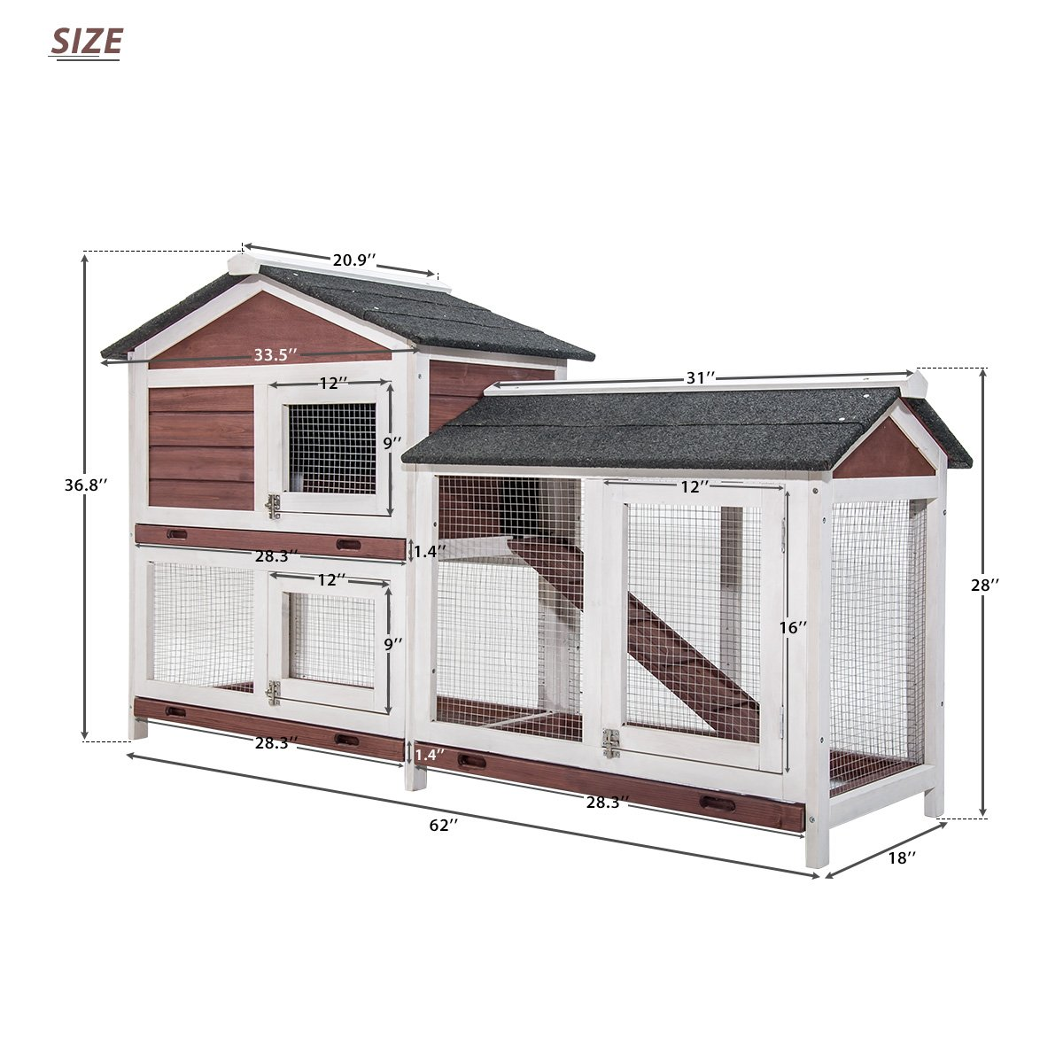 Purlove Pet Rabbit Hutch Wooden House Chicken Coop for Small Animals (Rabbit Hutch #4) by Purlove (Image #6)