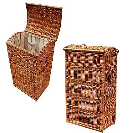 WR2 GalaDis cesta/ropa rectangular de mimbre trenzado (70 cm) con vaso/
