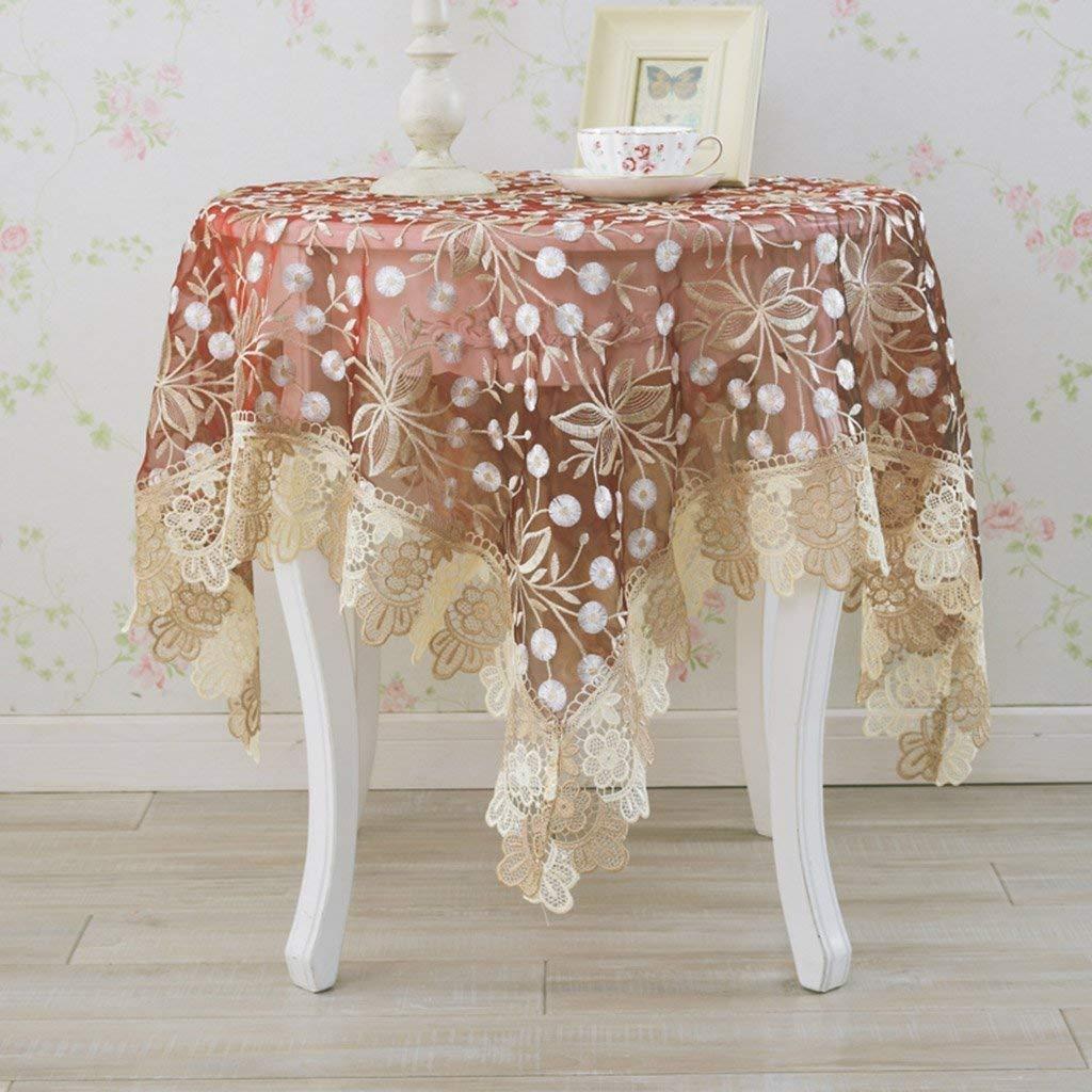 家の装飾布カバー ホームキッチンリネンラウンドティーテーブルクロスティーテーブルマットテーブルマット テーブルクロス   B07RWLGMY1