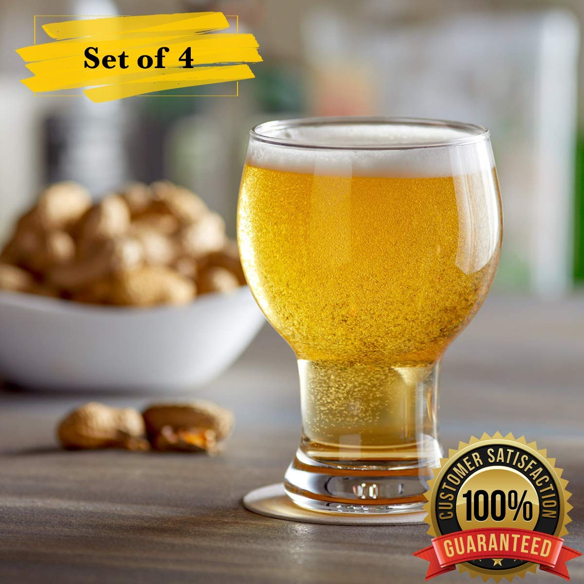 IPA Beer Glass MM Foodservice Craft Beer Glass 16-Ounce Craft Beer Glasses Set of 4