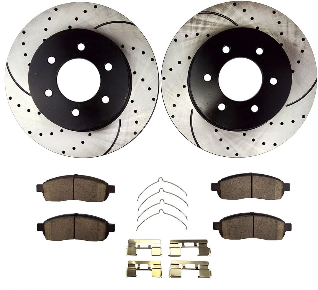 High-End Front+Rear Kit 6lug 4 Black Coated Cross-Drilled Disc Brake Rotors 8 Ceramic Pads Fits:- F-150 Mark LT