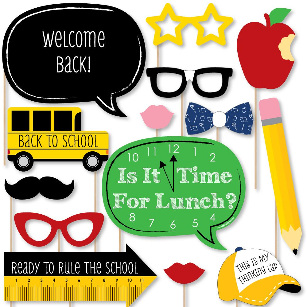 Back to School - First Day of School Decorations and Photo Booth Props Kit - 20 Count