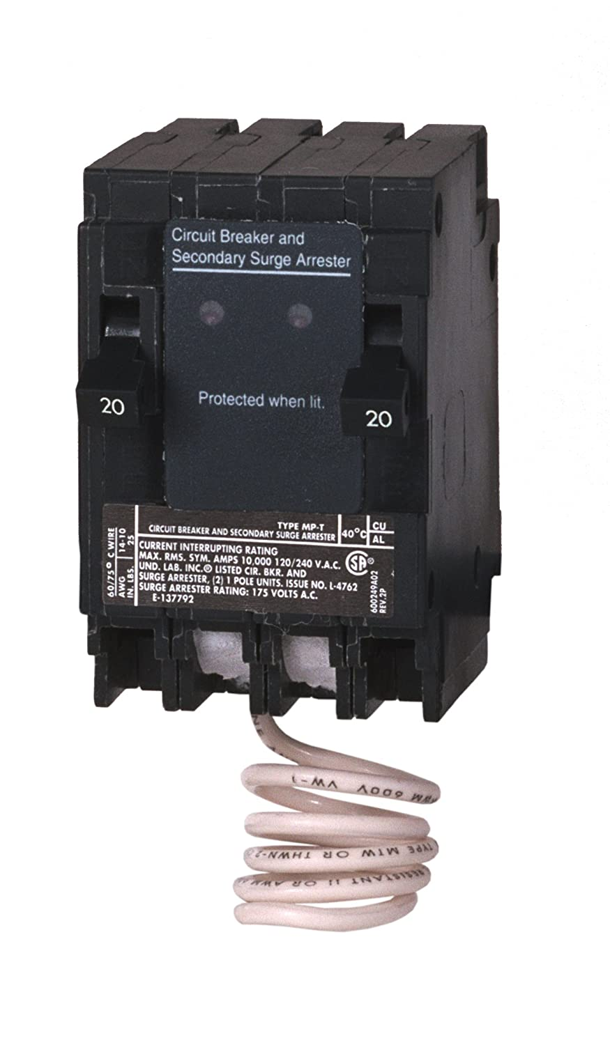 Murray MSA2020SPD Space Saving Whole House Surge Protection with Two 20-Amp Circuit Breakers Siemens -HI