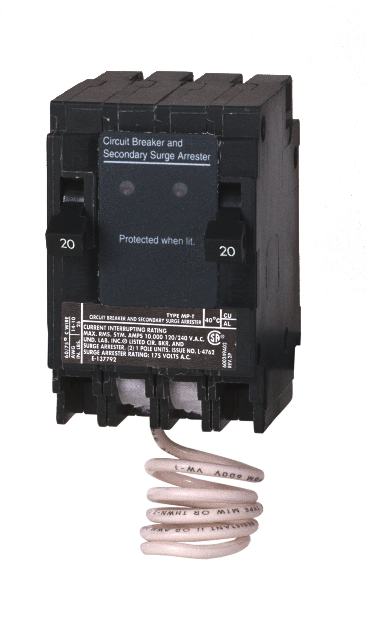 Murray MSA2020SPD Space Saving Whole House Surge Protection with Two 20A Circuit Breakers