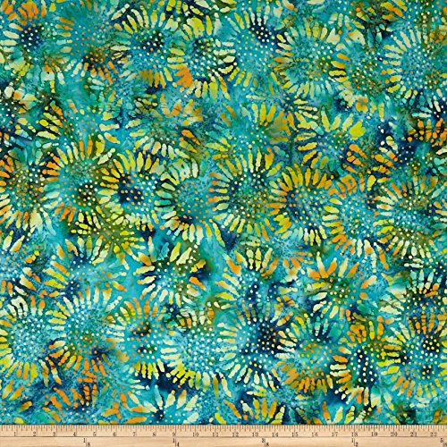 (Textile Creations Tuscan Garden Sunflower Batik Lime/Blue Fabric by The Yard)