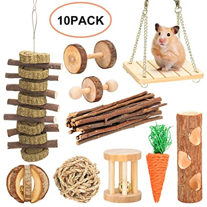 JJYHEHOT 7 Pack Hamster Chew Toys Natural Wood Chew Toys Ejercicio Jugar Bell Guinea Pig Parrot Dental Care