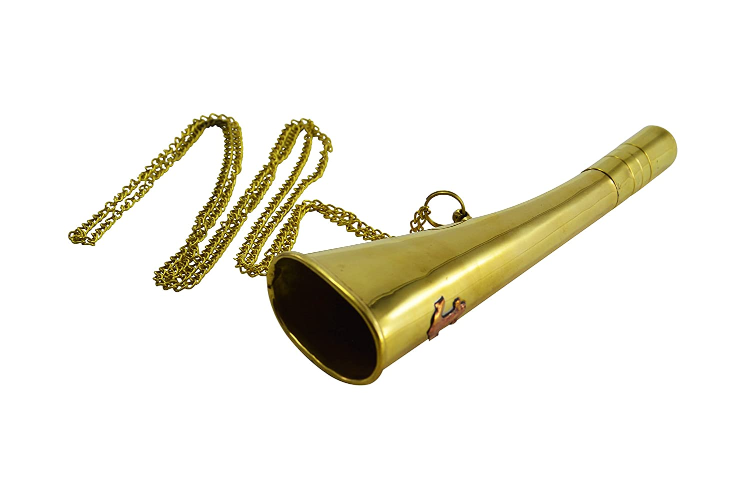 6 Brass Military Anchor Symbolized Bugle Horn Summer Camp Boy Girl Scout Signalling Bugle Horn with Sling Chain Dorpmarket QDE5125