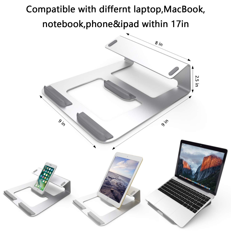 aleaci/ón de aluminio Soporte de Port/átil Ergonom/ía para Macbook Ordenador Port/átil Tel/éfono m/óvil Gogotool Soporte para Port/átil Laptop Libros tableta