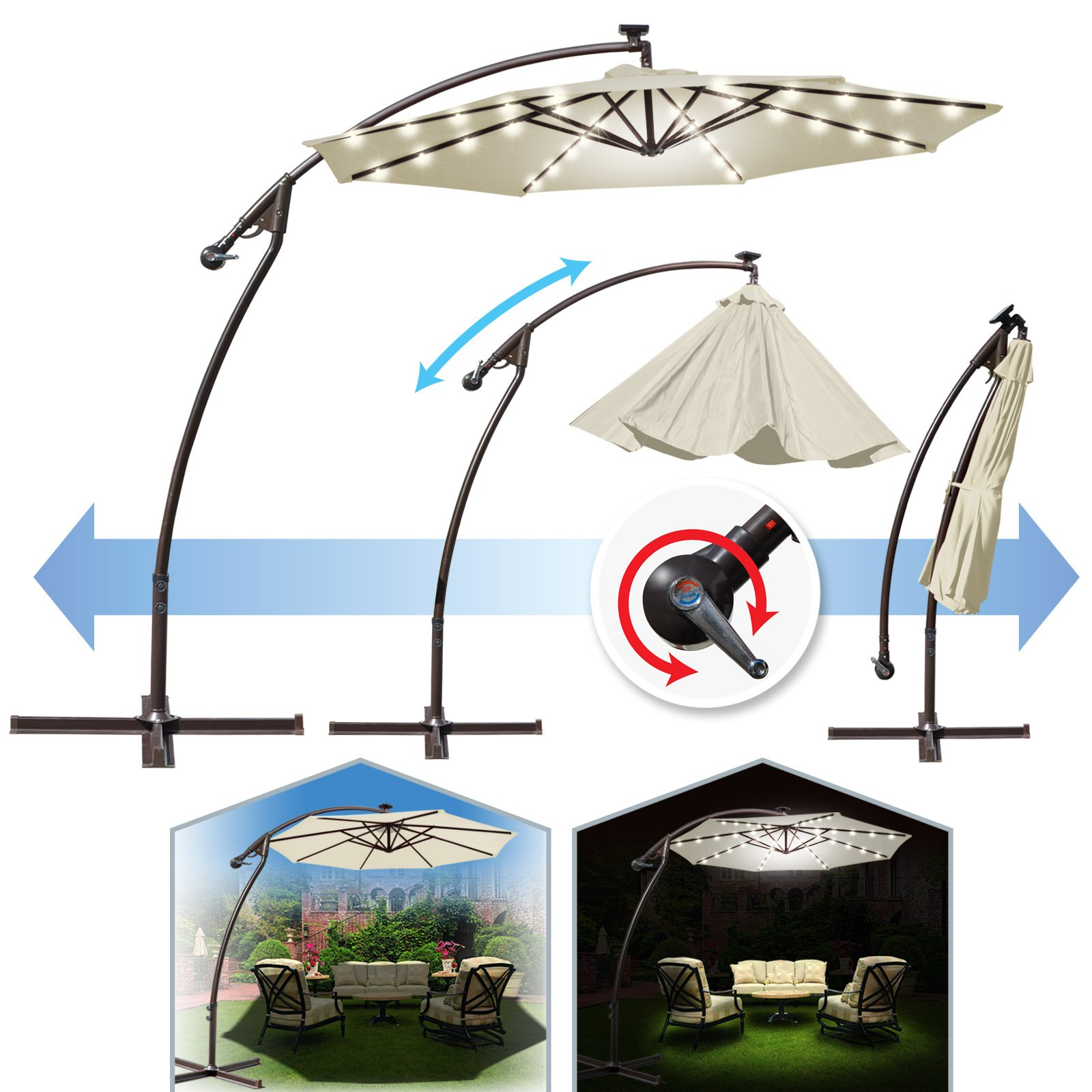 BenefitUSA 9' Cantilever 40 LED Light Patio Umbrella Outdoor Garden Sunshade (Ecru)