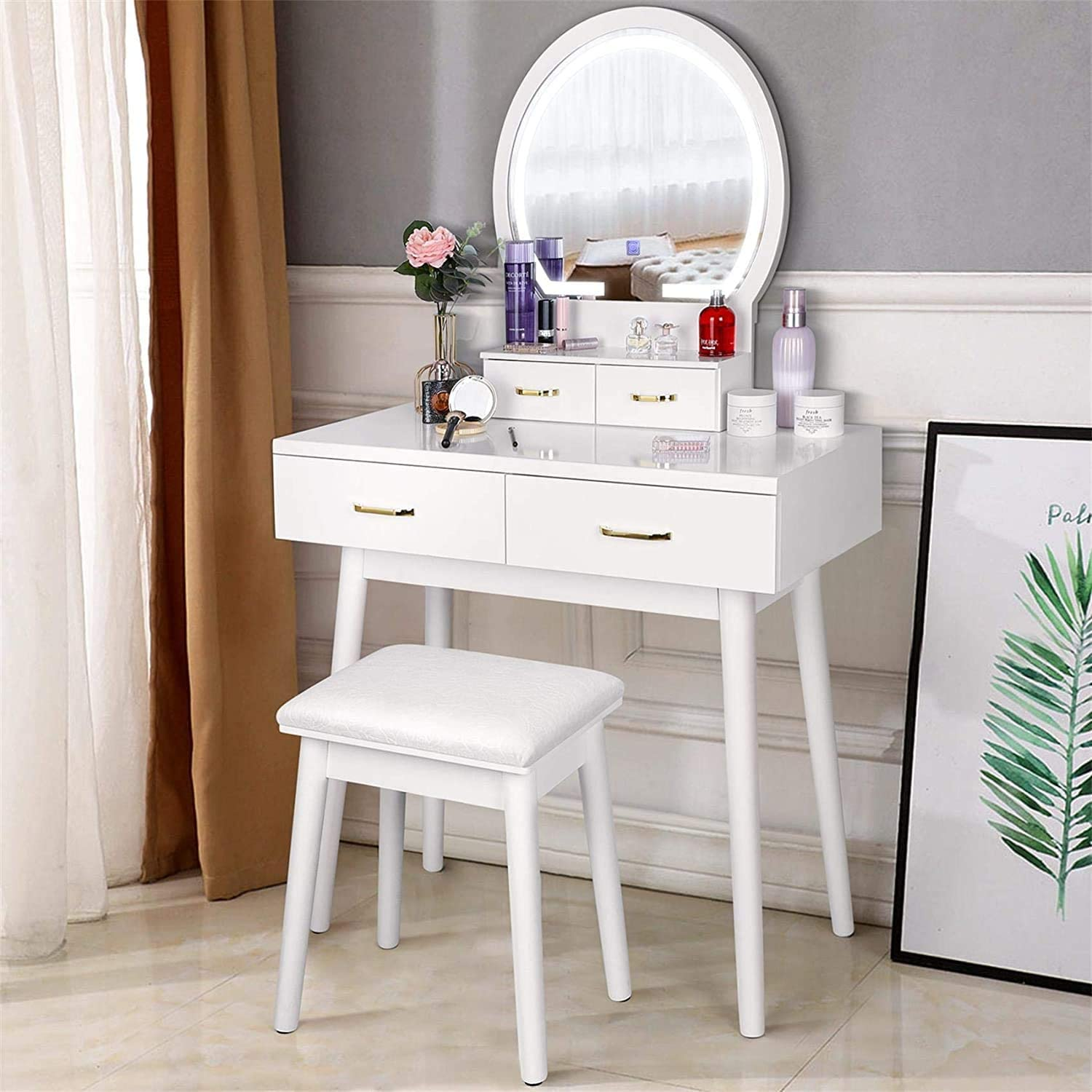 amzdeal Vanity Set with Lighted Mirror, Makeup Vanity Dressing Table with Touch Screen Dimming Mirror, 3 Color Lighting Modes 4 Drawers Dresser Desk and Cushioned Stool Set - White