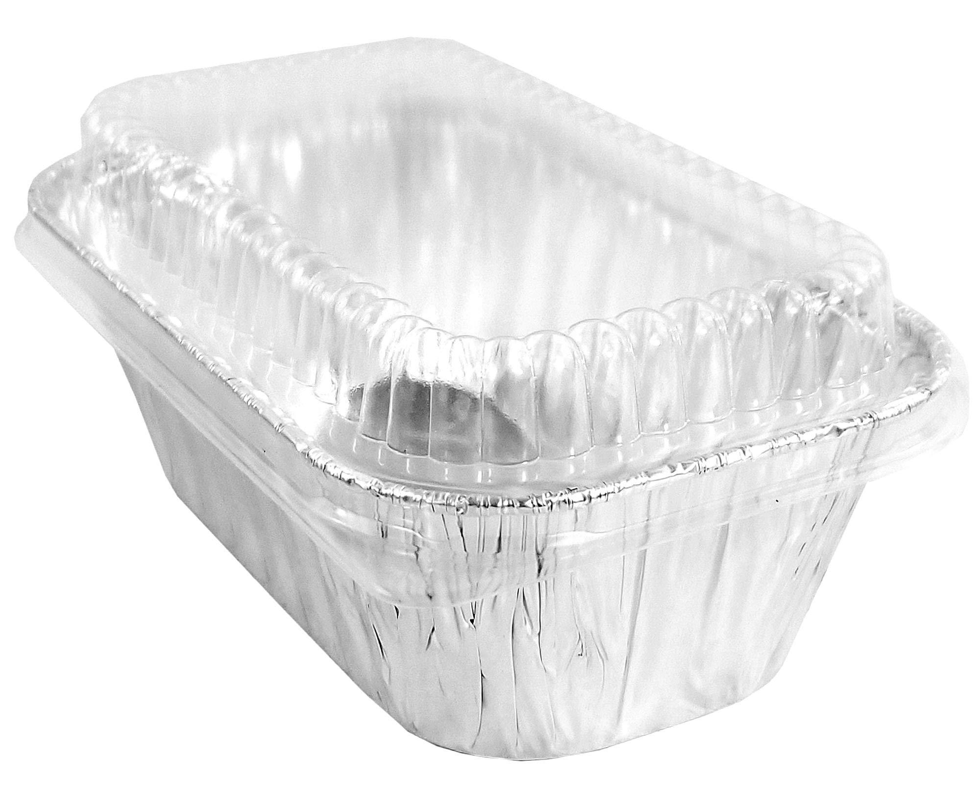 Pactogo Disposable 1 lb. Aluminum Foil Mini Loaf Pans with Clear Low Dome Lids (Pack of 400 Sets) by PACTOGO (Image #5)