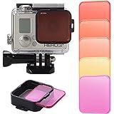 XCSOURCE 5pcs Kit de Filtres de Plongée Rouge Foncé Rouge Orange Jaune Violet + Adaptateur pour GoPro HERO 3+/4 LF722