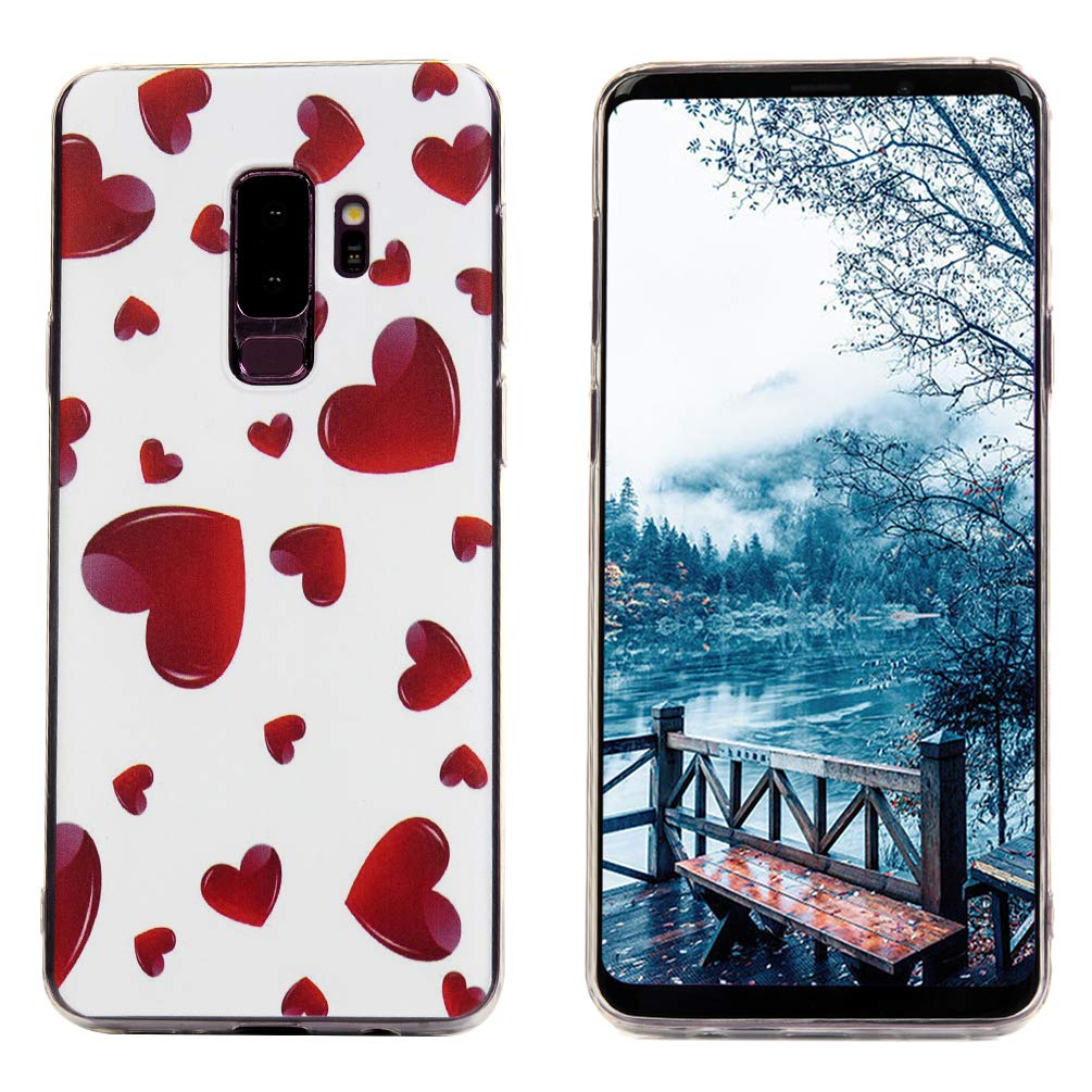 Galaxy S9 Plus Case, S9 Plus Cover Ultra Slim HD Clear & Full TPU Soft Shockproof Drop Pretective Skin Shell for Samsung Galaxy S9 Plus 2018 Version, Red Heart by SUPWALL (Image #3)
