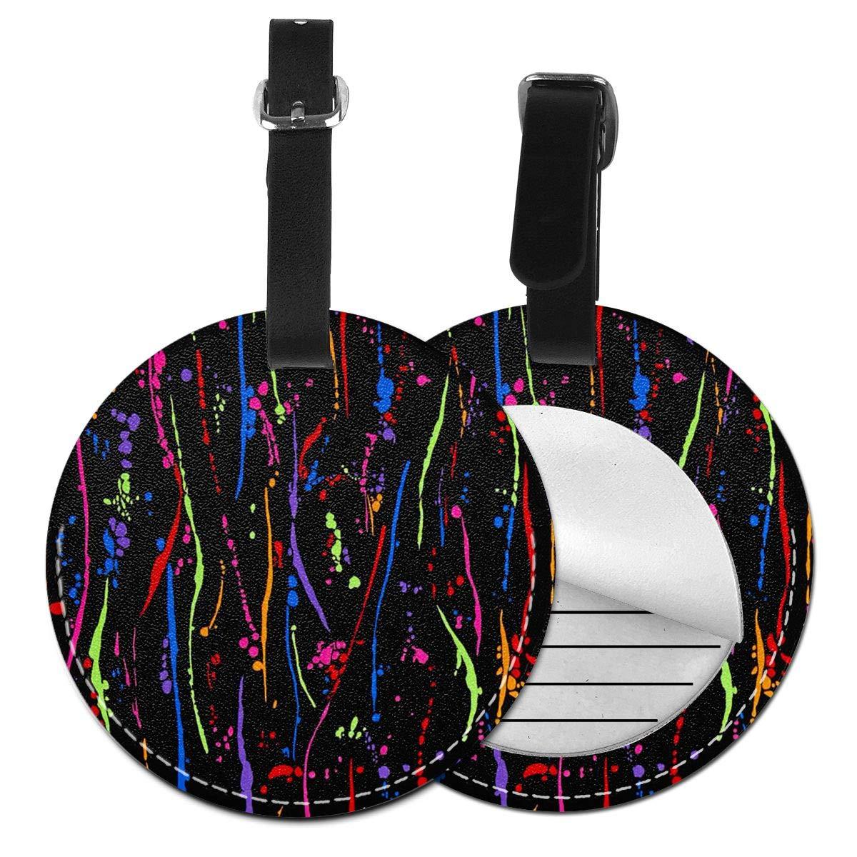 Free-2 Rainbow Bright Paint Splatter Luggage Tag 3D Print Leather Travel Bag ID Card