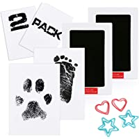 Scotamalone 2 Packs Baby Handprint and Footprint Ink Pads - Large Size - Pet Paw Print Ink Kits - Non-Toxic Safe and Clean-Touch - for Family Keepsake Baby Shower Gift and Registry