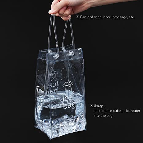 Amazon.com: BESTOMZ Durable Clear Transparent PVC Champagne Wine Ice Bag Pouch Cooler Bag with Handle: Kitchen & Dining