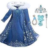 Kicpot Girls Elsa Snow Costume Dress Princess Dress Crown Adventure Costume
