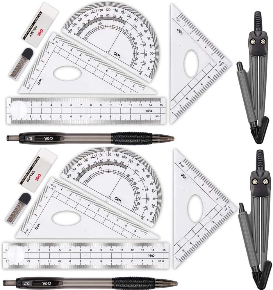 Bleistift,Radiergummi f/ür Studenten Bleimine Minen Compass f/ür Geometrie Math Geometry Kit 8 St/ück Student Supplies Zeichnung Kompass Gobesty Geometrie Sets Winkelmesser Lineale