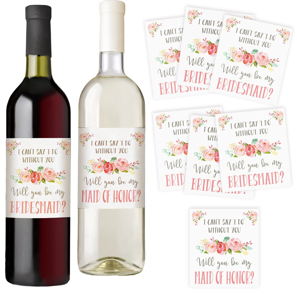 I Can't Say I Do Without You | Set of 7 Wine Bottle Labels | Bridesmaid and Maid of Honor Gift | Asking Bridesmaids | Bridesmaid Proposal | Bridal Party Favors, Ideas, and Gifts Printed Party BW-V3KJ-GLZP