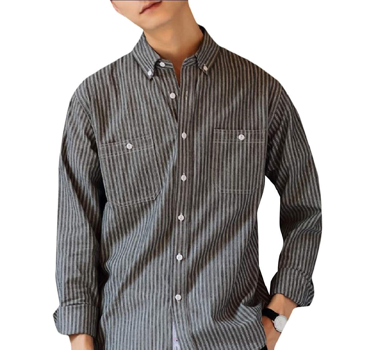 Coolred-Men Stripes Slim Fit Premium Select Cotton Non-Iron Western Shirt