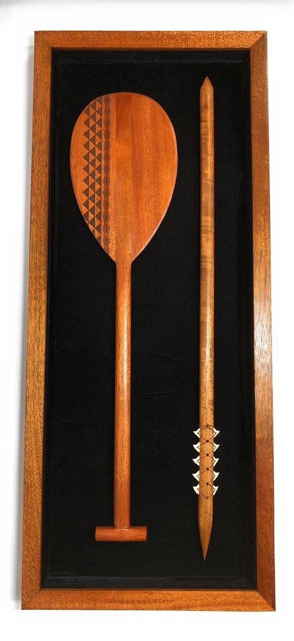 Koa Shadow box w/ Tribal Oar & Spear 42''X 18'' - Black Velvet - Made In Hawaii | #koasb18