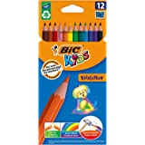 BIC Kids Evolution ECOlutions Colouring Pencils - Assorted Colours, Cardboard Wallet of 12
