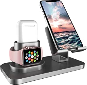 Fingic 3 in 1 Charging Station for Apple Watch, Airpods Charger Stand for Apple Watch Charging Stand for AirPods/iWatch Series 4/3/2/1 and iPhone 11/11 Pro Max/X/XS/XR/Xs Max/8/8 Plus/iPad, Space Gray